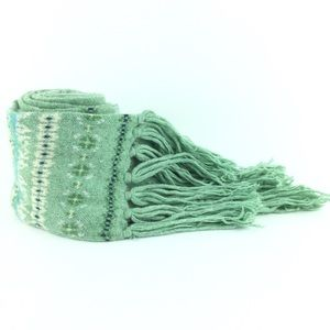 American Eagle green fair isle knit fringe scarf